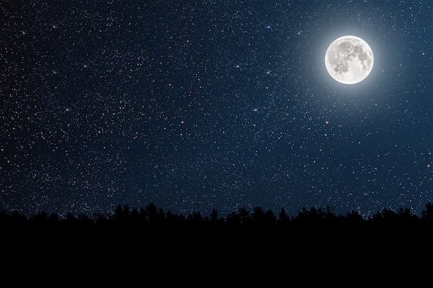 Mountain. walls night sky with stars and moon and clouds.