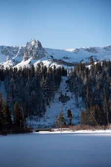 Mountain and waterfall panorama landscape on ski resort mammoth lakes