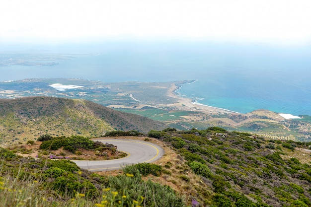 Mountain way. most beautiful view of the middle sea from the highest mountain, crete, greece