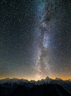 Mountain winter night panorama landscape. steep mountain peaks covered with snow and spruce forest, lit by setting sun horizon under dark blue starry sky and bright milky way constellation.