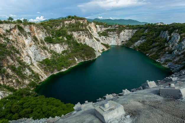 Mountain with reservoir, tourist attraction in chonburi or grand canyon chonburi.