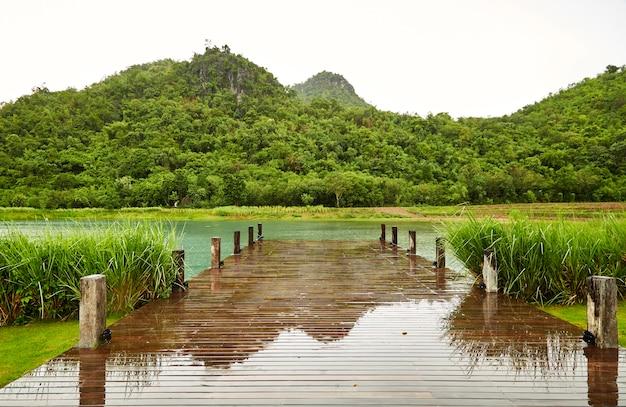 Горный деревянный мост в дождливую погоду