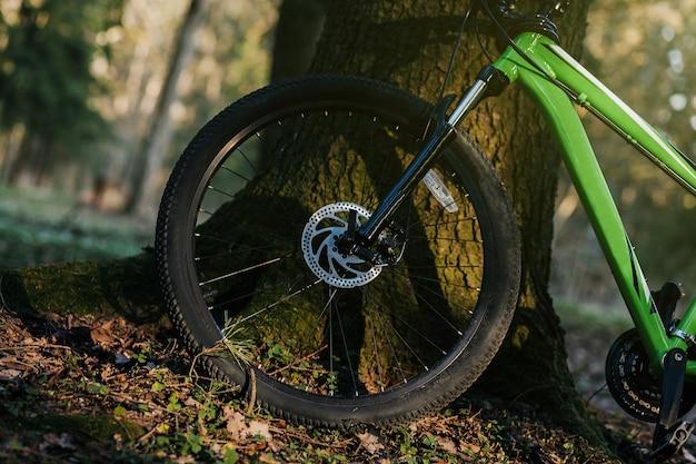 두꺼운 오프로드 타이어가 장착된 산악자전거. 자전거 mtb 크로스 컨트리 알루미늄, 숲에서 사이클링 스포츠 운송 개념