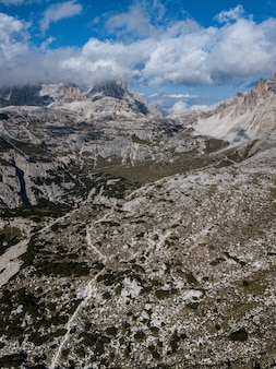 Mountainous landscape in three peaks nature park in italy