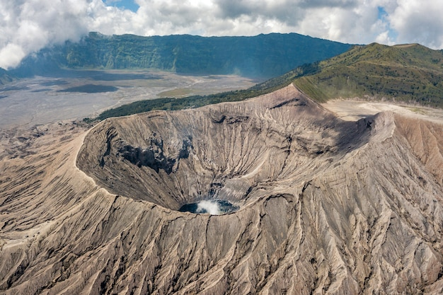 Mountainous landscape with a volcano crater