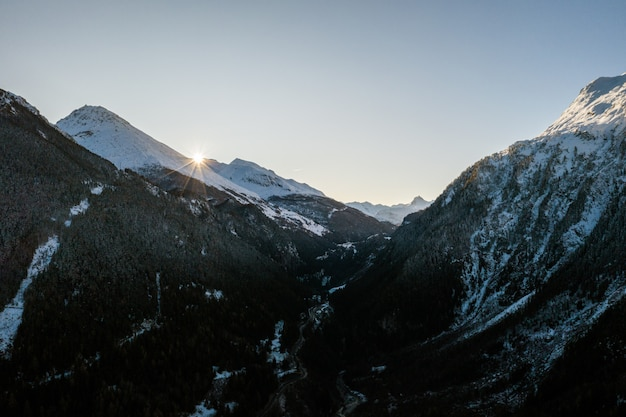 Mountainous winter scenery under the clear sky in sainte-foy-tarentaise, french alp