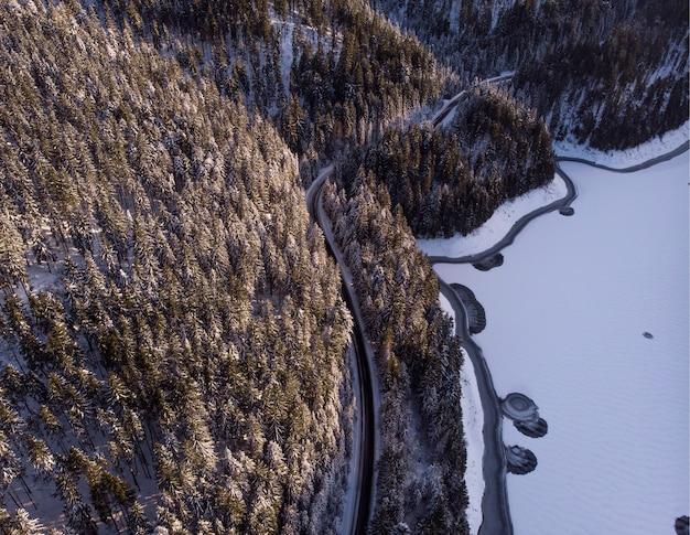 ルーマニアのトランシルバニアの雪に覆われた山と森