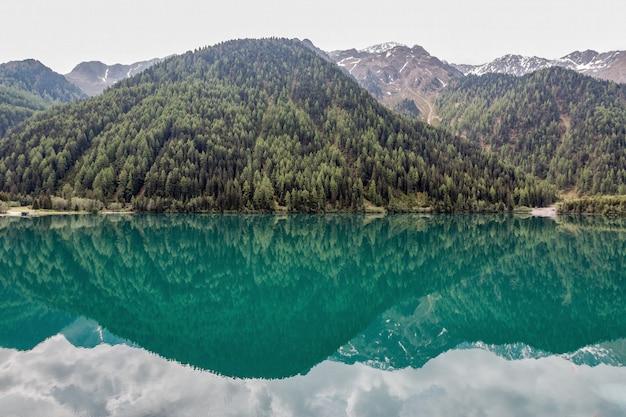 Mountains beside lake
