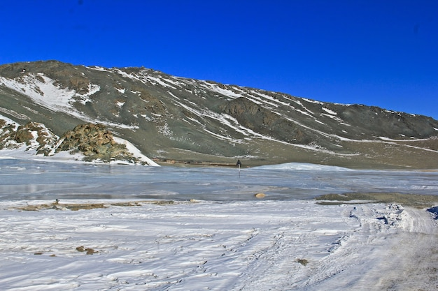 Mountains and blue sky with nature in mongolia
