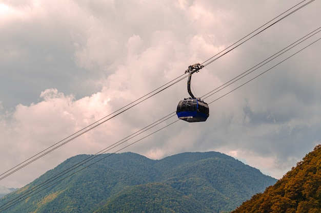 Mountains and cableway in krasnaya polyana