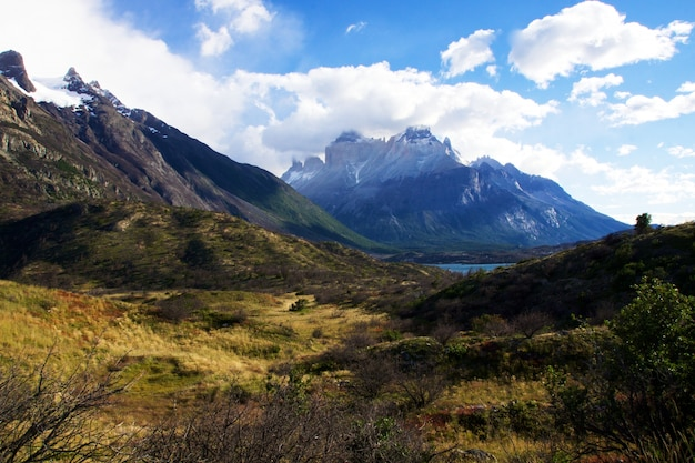 Mountains under the clear sky in torres del paine national park in chile