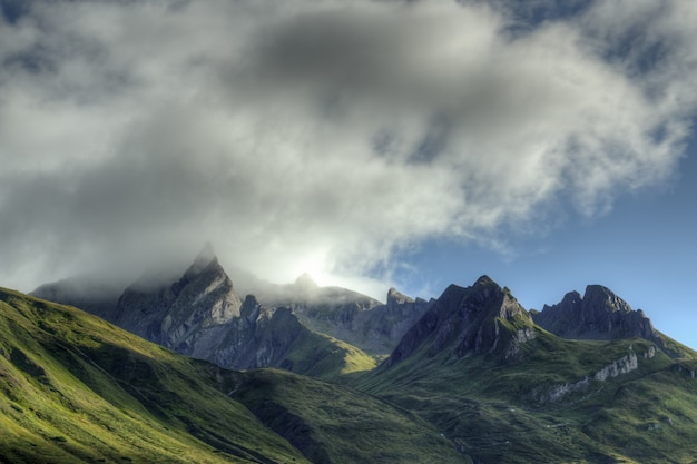Mountains and cloudy sky