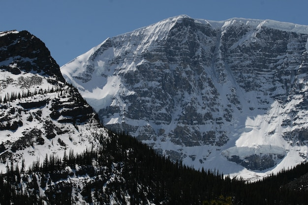 Mountains covered in snow in banff and jasper national parks