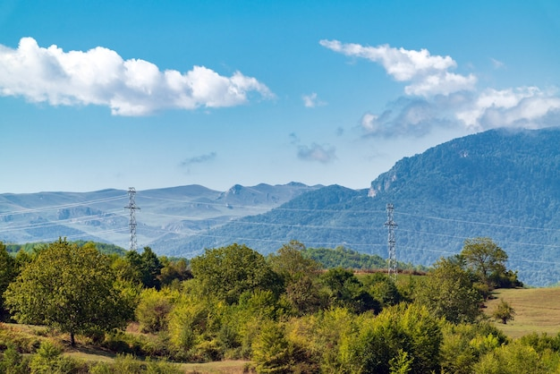 鬱蒼とした緑の森に覆われた山々、送電鉄塔