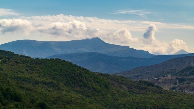鬱蒼とした緑の森に覆われた山々