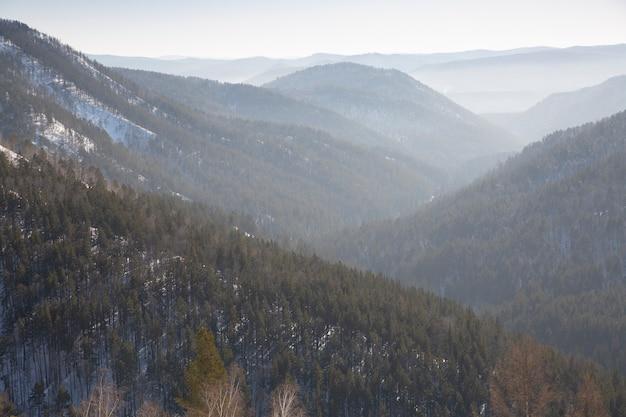 森に覆われた山々は地平線に行き、もやの中で迷子になります