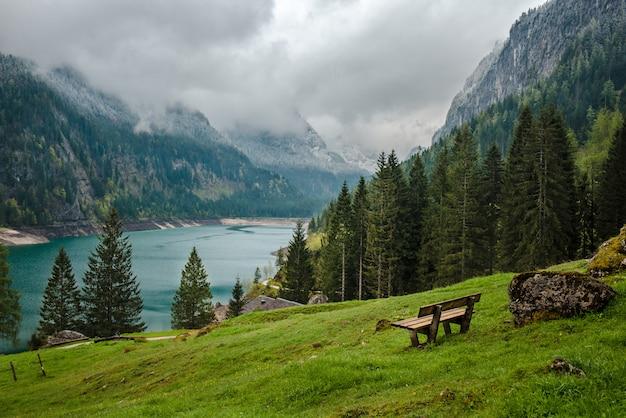 Mountains lake gosau in austria alps