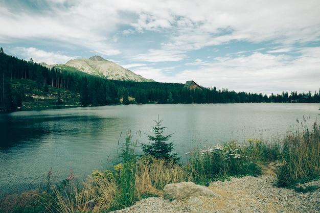 Mountains and lake, vintage filter