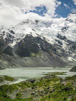 Горы, озера и луговой пейзаж