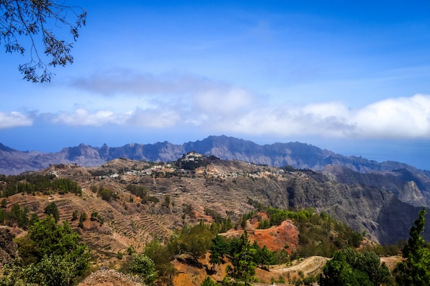 Mountains landscape panoramic view in santo antao island, cape verde, africa