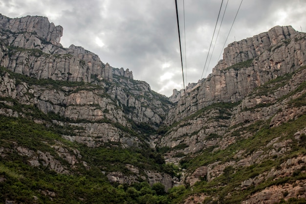 Mountains of montserrat where a famous benedictine abbey is located near barcelona city, spain.