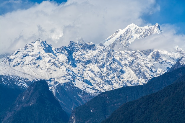Mountains peaks in north sikkim, india
