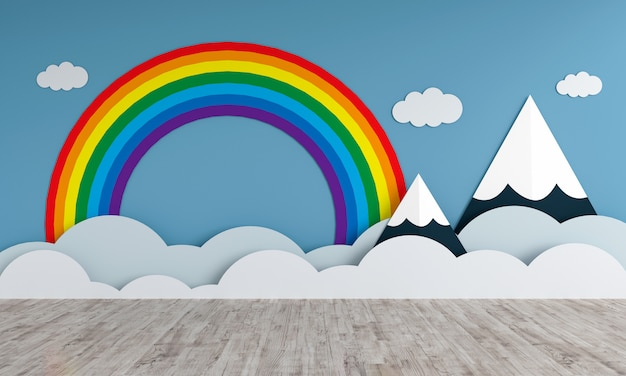 Mountains and rainbow in empty children room for mockup