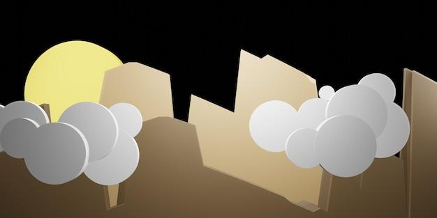 Горы, небо и облака ночью, полная луна в небе, вырезка из бумаги в стиле 3d иллюстрации