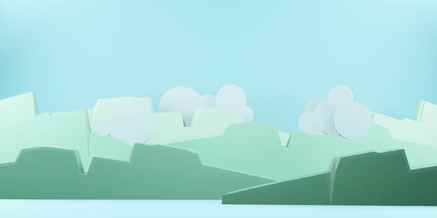 Горы, небо и облака, солнце в небе, вырезка из бумаги в стиле 3d иллюстрации (1)