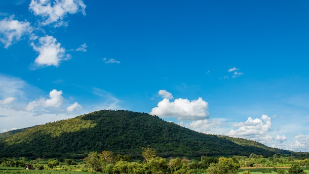 Mountains and tree with beautiful blue sky and clouds.