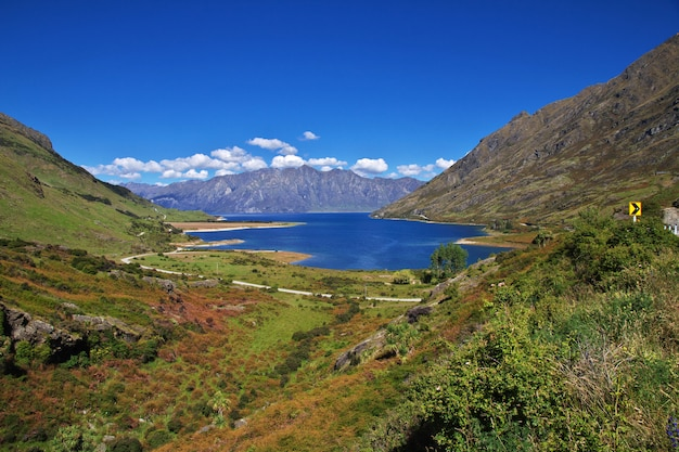 The mountains and the valley of the south island, new zealand