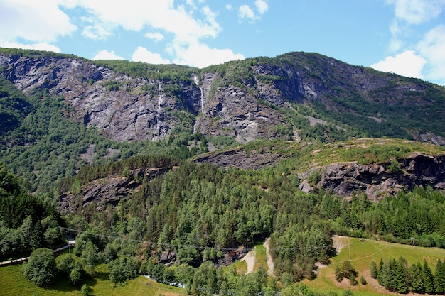Mountains and valleys along flamsbana, the flam railway, norway