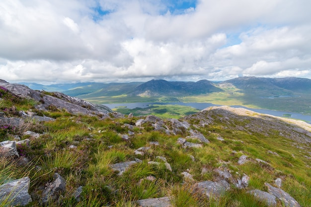 Mountains view over lough inagh from top of derryclare peack.