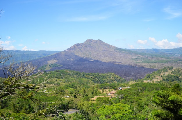 Mountains and volcano in the tropical rainforest.