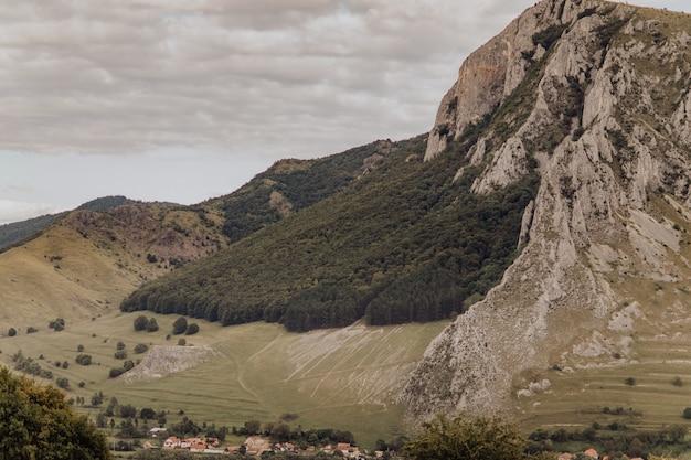 斜面に緑豊かな木々がある山々。ルーマニアのリメテア村周辺