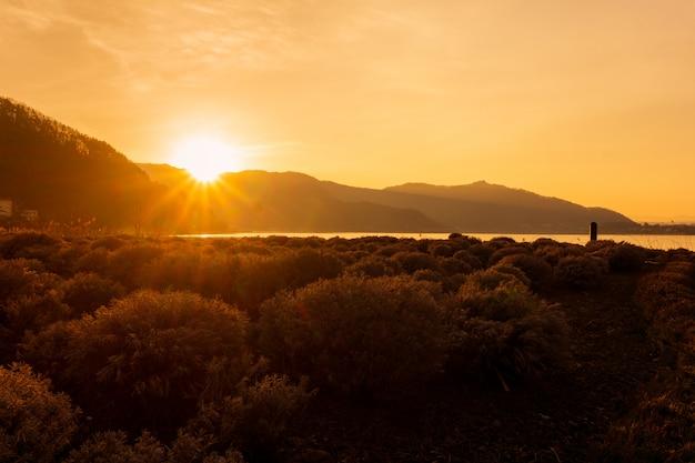 일본 카와 구 치코 호수에서 산, 풍경 아침 일출
