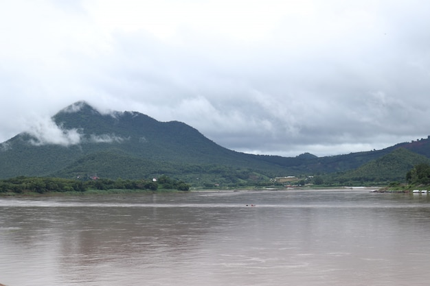 Mountian and mekong river , xanamkhan, laos