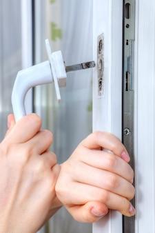 Mounting handle on double hung window with doubleglazed