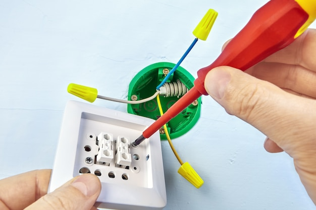 드라이버의 도움으로 이중 전등 스위치용 새 버튼 장착, 전기 작업.