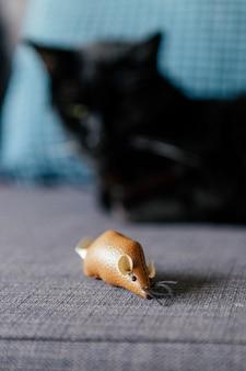 Мышь развлекательная игрушка черного кота