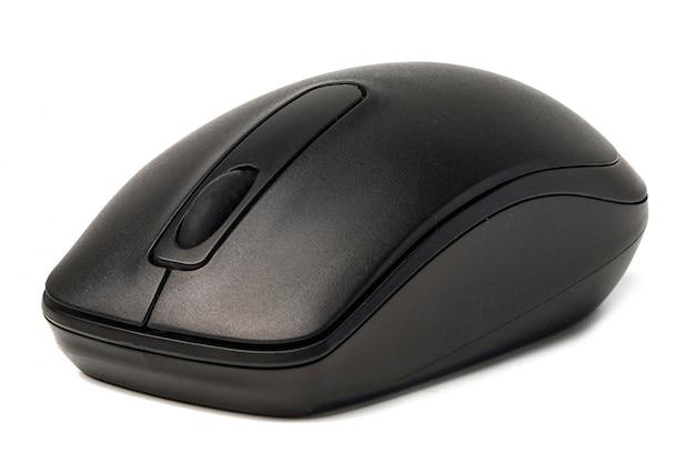 白い背景上のコンピューターのマウス。