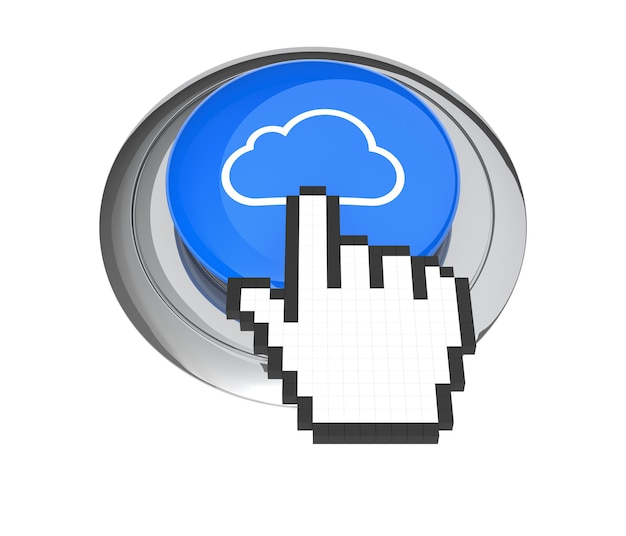 Mouse hand cursor on blue cloud computing button. 3d illustration.