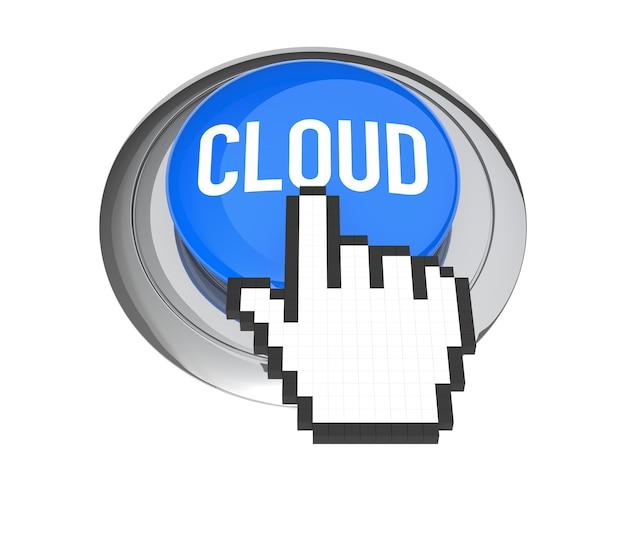 블루 클라우드 컴퓨팅 버튼에 마우스 손 커서입니다. 3d 그림입니다.