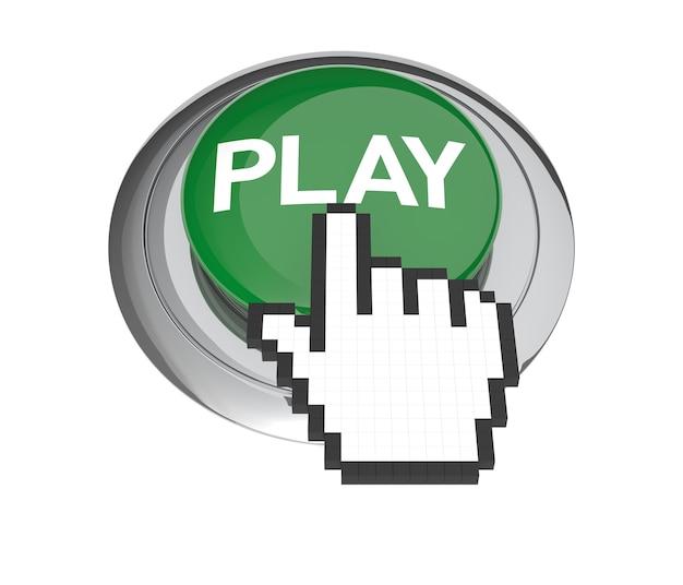 Курсор в виде руки мыши на зеленой кнопке воспроизведения. 3d иллюстрации.