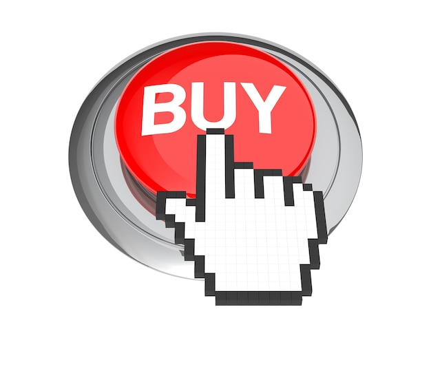 赤い購入ボタンのマウスの手のカーソル。 3dイラスト。