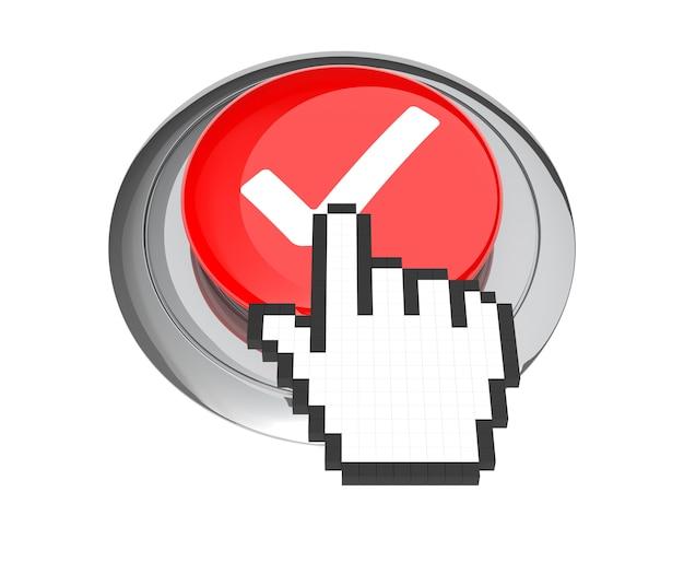 赤いチェックマークボタンのマウスハンドカーソル。 3dイラスト。