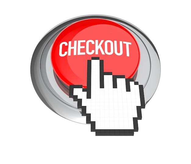 赤いチェックアウトボタンのマウスハンドカーソル。 3dイラスト。