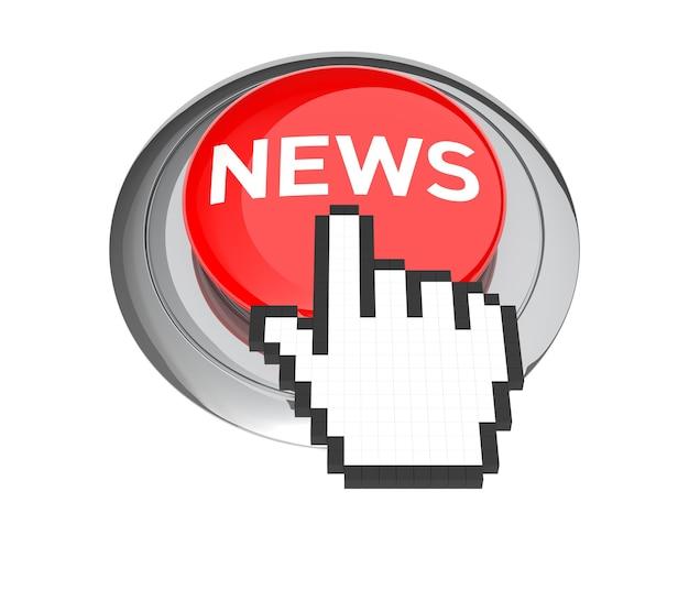 Курсор в виде руки мыши на красной кнопке новостей. 3d иллюстрации.