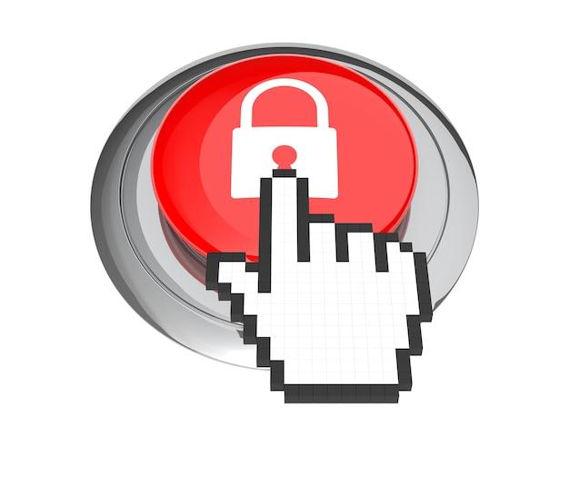 Курсор в виде руки мыши на красной кнопке замка. 3d иллюстрации.