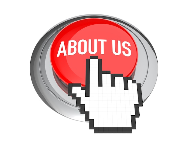 Mouse hand cursor on red about us button. 3d illustration.
